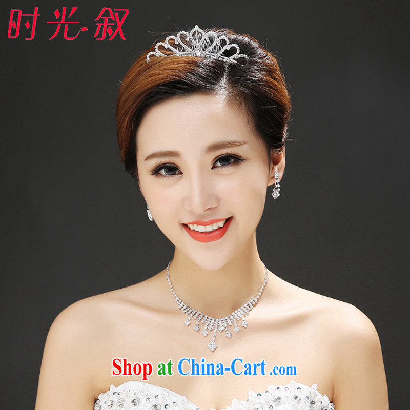 Time Syrian Arab, Japan, and South Korea Korean bridal wedding head-dress heart-shaped crown and ornaments dress accessories wedding accessories jewelry-jewelry necklace earrings 3-piece kit gift set 3 piece set