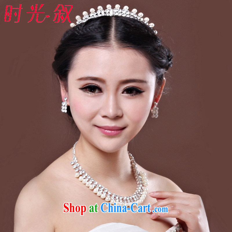 Time his bride's jewelry Korean married women and 3-piece kit pearl necklaces Crown jewelry wedding accessories, gift box 3 piece set