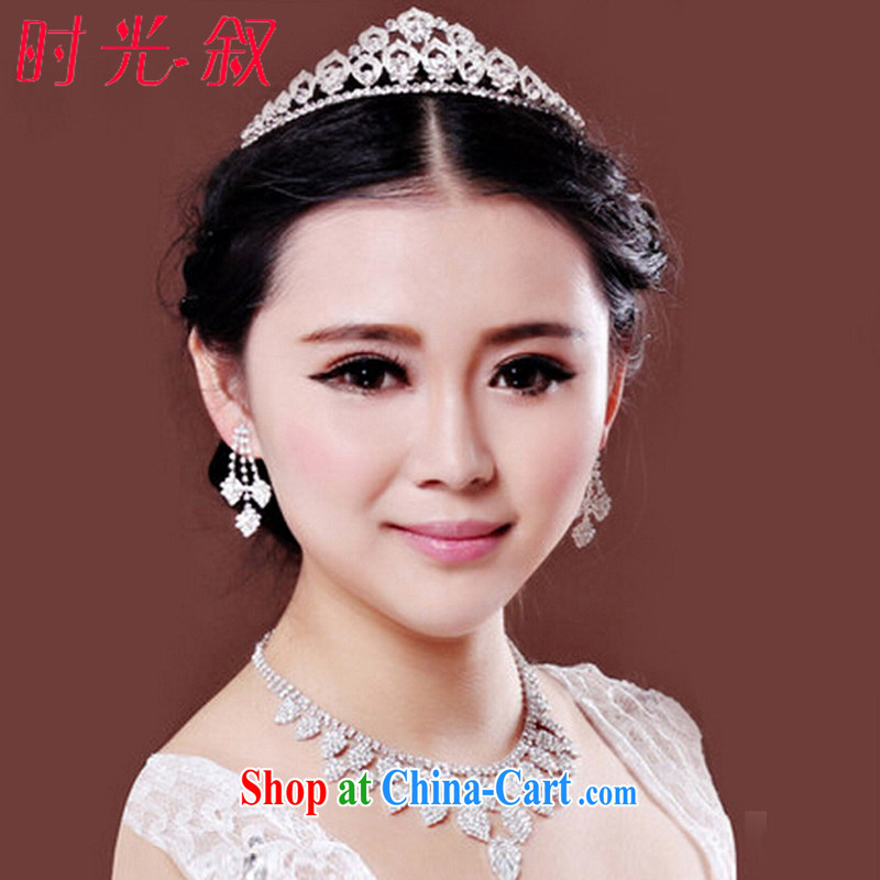 Time his new bride and married the crown 3 Piece Set Korean-style water diamond necklace Ear Ornaments wedding accessories, gift box 3 piece set