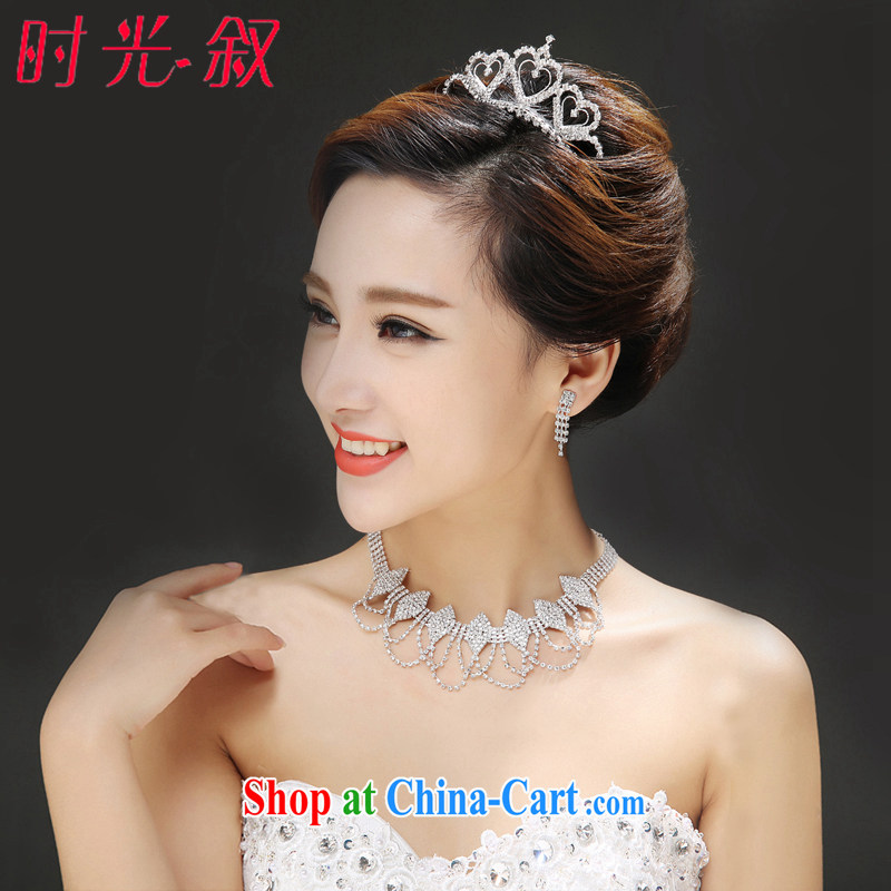 Time his new Korean brides, Japan, and South Korea wedding accessories heart-shaped crown and trim 3-piece kit dress decorated Wedding style wood drill jewelry gift box 3 piece set