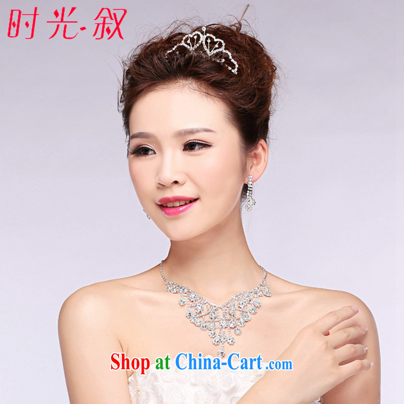 Time his Korean-style bridal jewelry Crown 3-Piece wedding headdress parquet drill wedding accessories wedding jewelry gift set 3 piece set