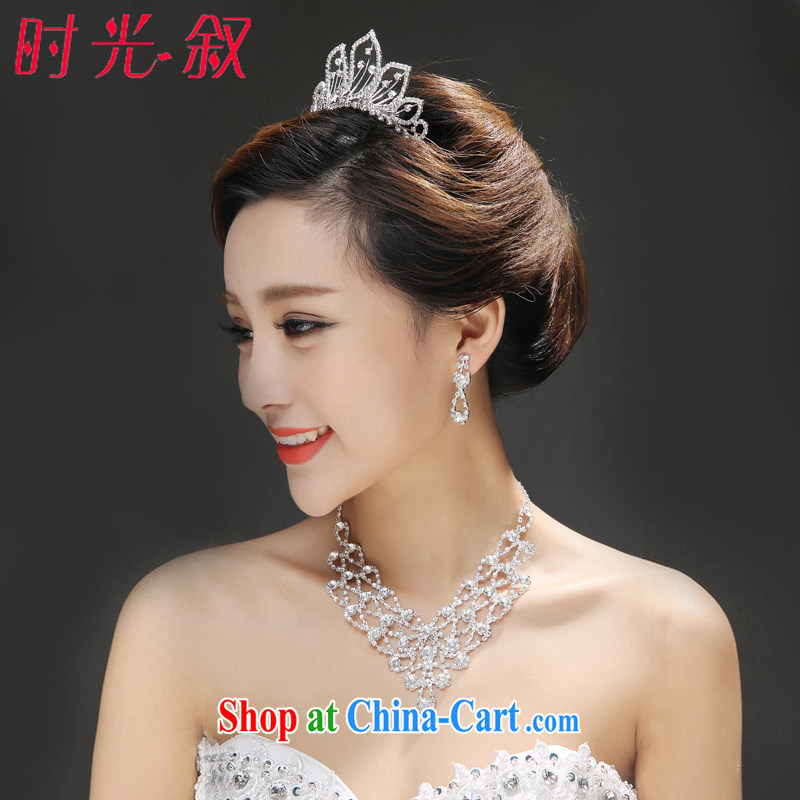 Time his bride's head-dress 3 Piece Set Korean-style necklace earrings Crown hair accessories kit wedding accessories wedding jewelry, Japan, and South Korea wedding accessories a 3 piece set please note style