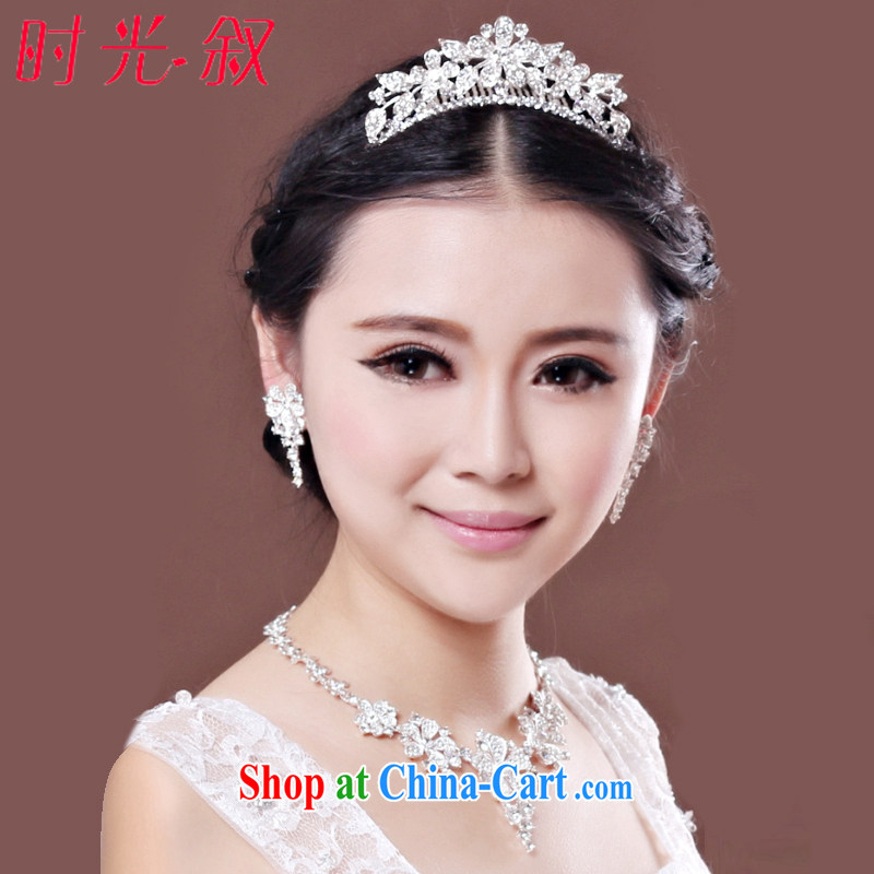 Time his bride Korean-style head-dress earrings necklace 3-piece kit marriage Crown hair accessories wedding dresses accessories gift set 3 piece set