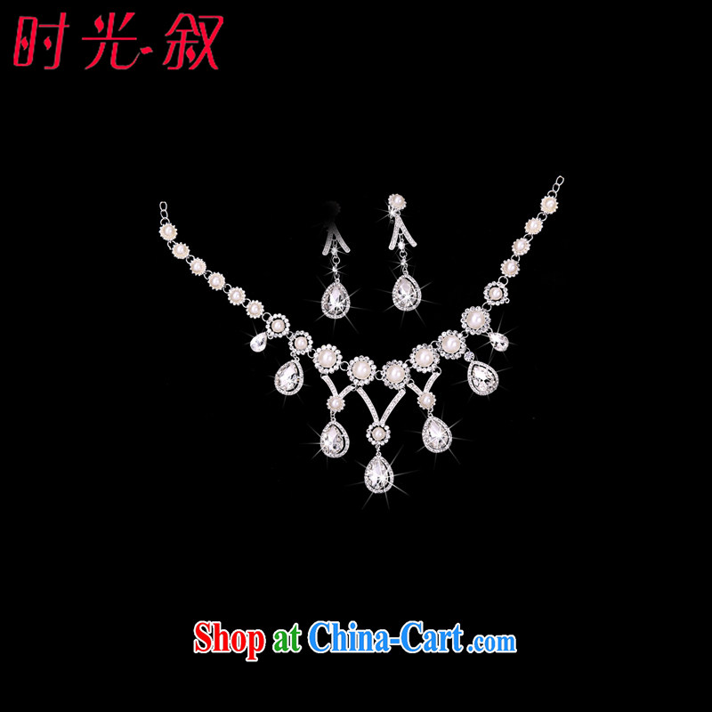 Time his retro style head-dress Crown necklace earrings Pearl water drilling jewelry accessories 3 piece kit gift boxed bridal hair accessories banquet accessories necklaces earrings