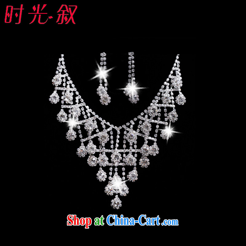 Time his bride's great drill for Jewelry ornaments Crown necklace earrings 3-piece kit jewelry hair accessories wedding wedding accessories jewelry necklaces earrings