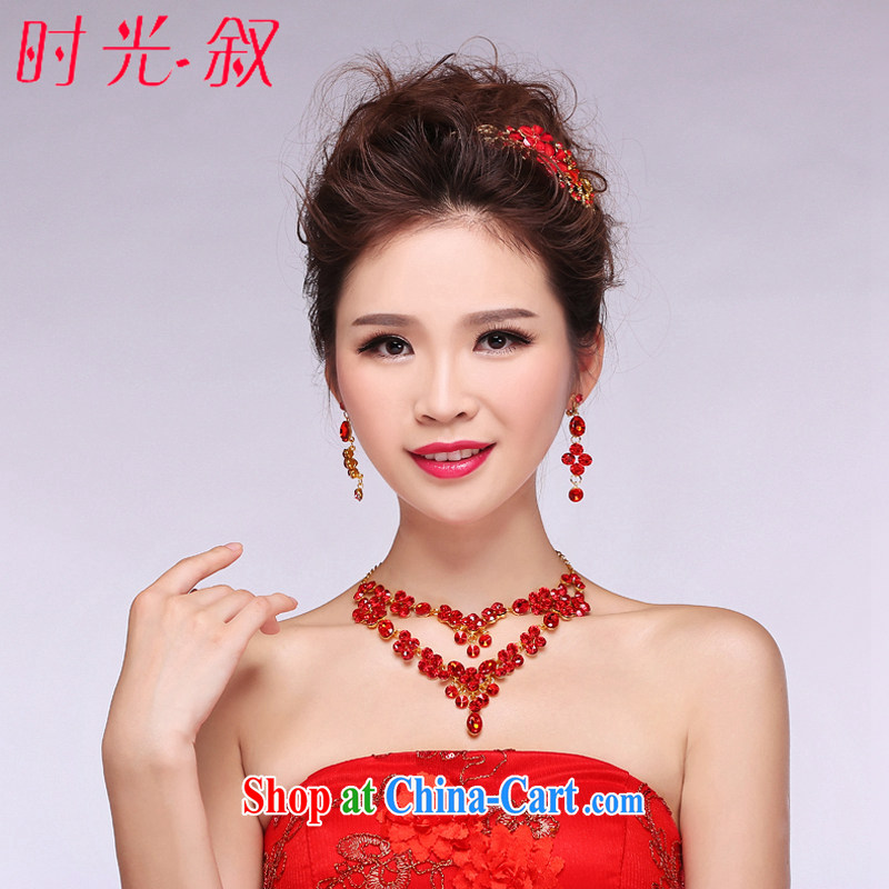 Time his bride's head-dress necklace earrings 3-Piece red Korean flowers wedding hair accessories wedding dresses accessories wedding jewelry gift box 3 piece set