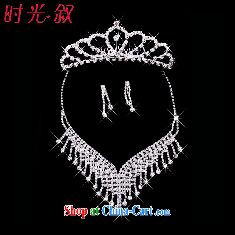 Time his high-end bridal alloy and ornaments Crown necklace earrings 3-piece kit jewelry hair accessories wedding wedding accessories jewelry gift sets 3 piece set