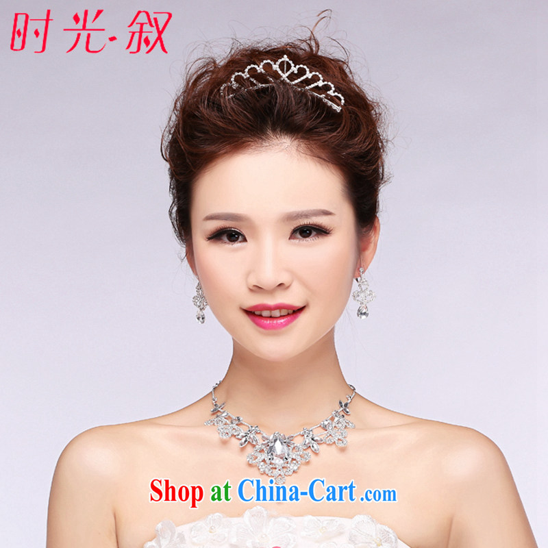 Time Syrian Arab high-end alloy head-dress necklace wedding bridal jewelry sets the shining diamond accessories 3 piece set 3 piece set