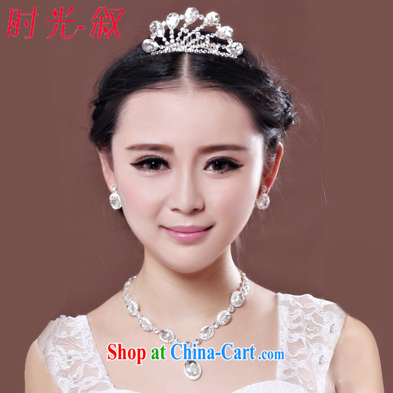 Time his Korean-style alloy, bridal jewelry Crown 3 piece wedding head-dress flowers large drill wedding accessories, Japan, and South Korea style jewelry gift set 3 piece set