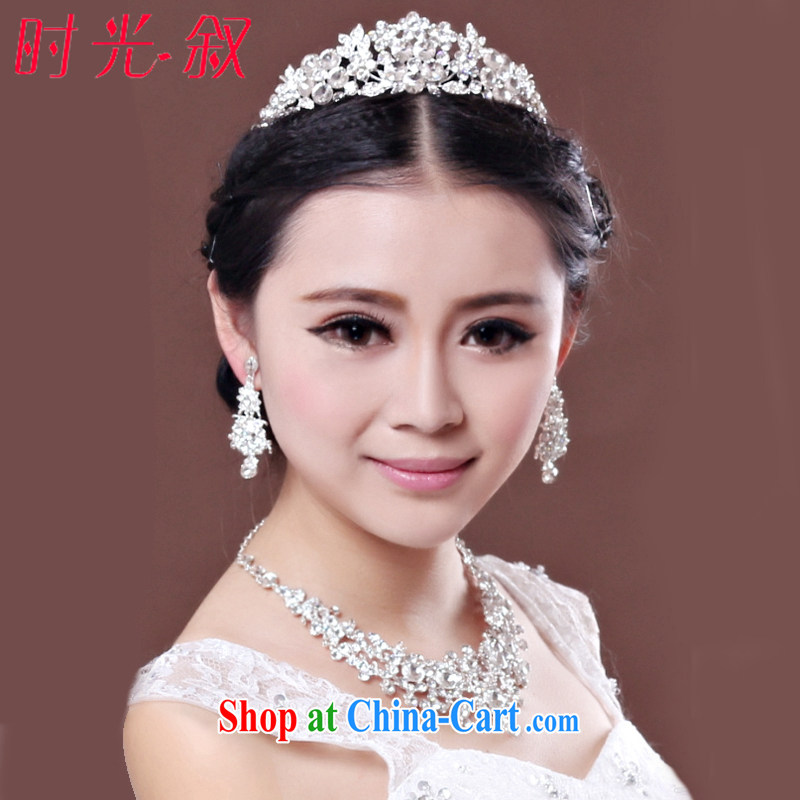Time his bride's head-dress 3 Piece Set Korean-style necklace earrings Crown hair accessories kit wedding accessories wedding jewelry gift set 3 piece set