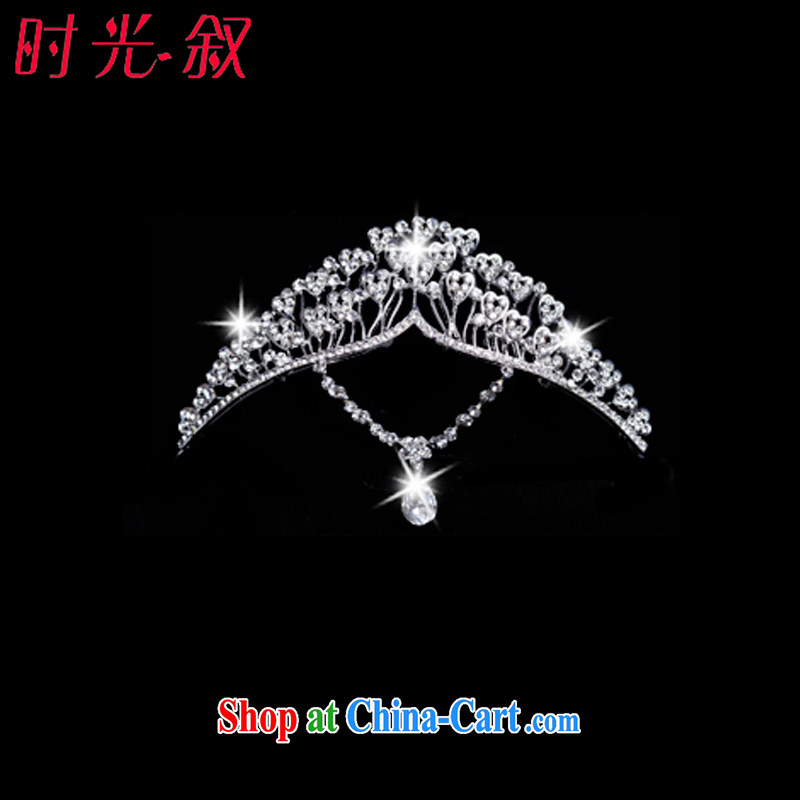 Time his bride's new Korean-style and ornaments of jewelry Crown necklace earrings 3-piece kit jewelry hair accessories wedding wedding accessories jewelry Crown