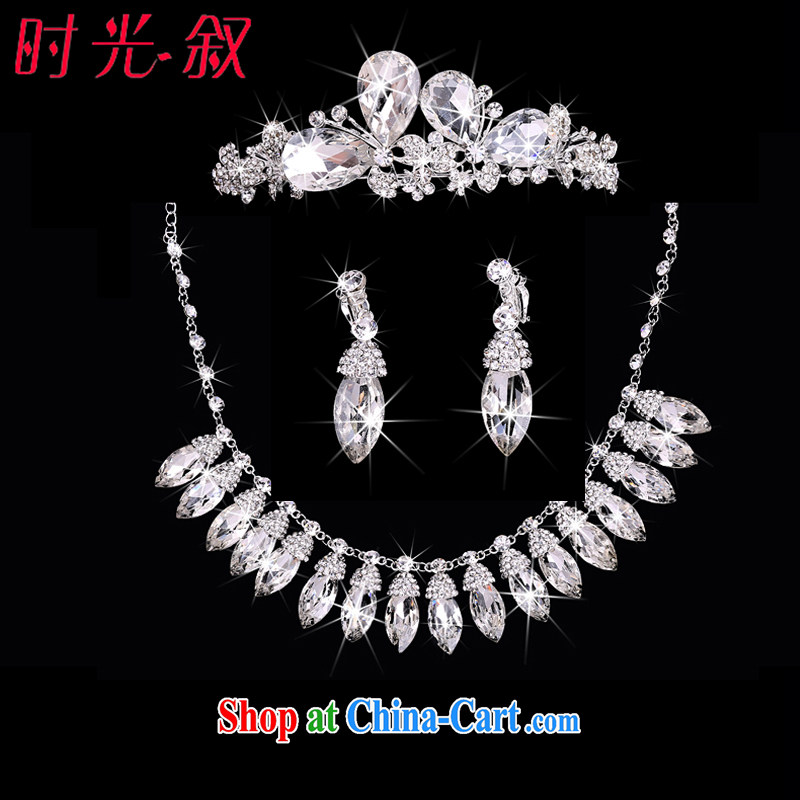 Time his Korean bridal headdress of ornaments Crown necklace earrings 3-piece kit jewelry hair accessories wedding wedding accessories jewelry gift sets 3 piece set