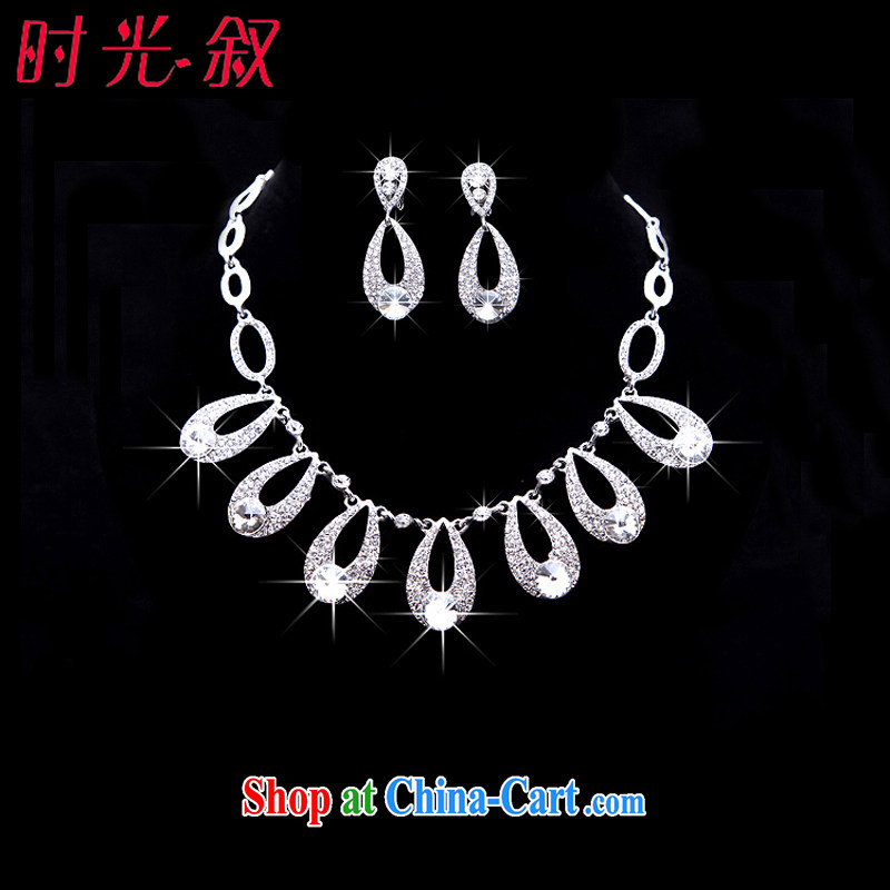 Time his bride Korean-style and ornaments of jewelry Crown necklace earrings 3-piece kit drops jewelry hair accessories wedding wedding accessories jewelry necklaces earrings