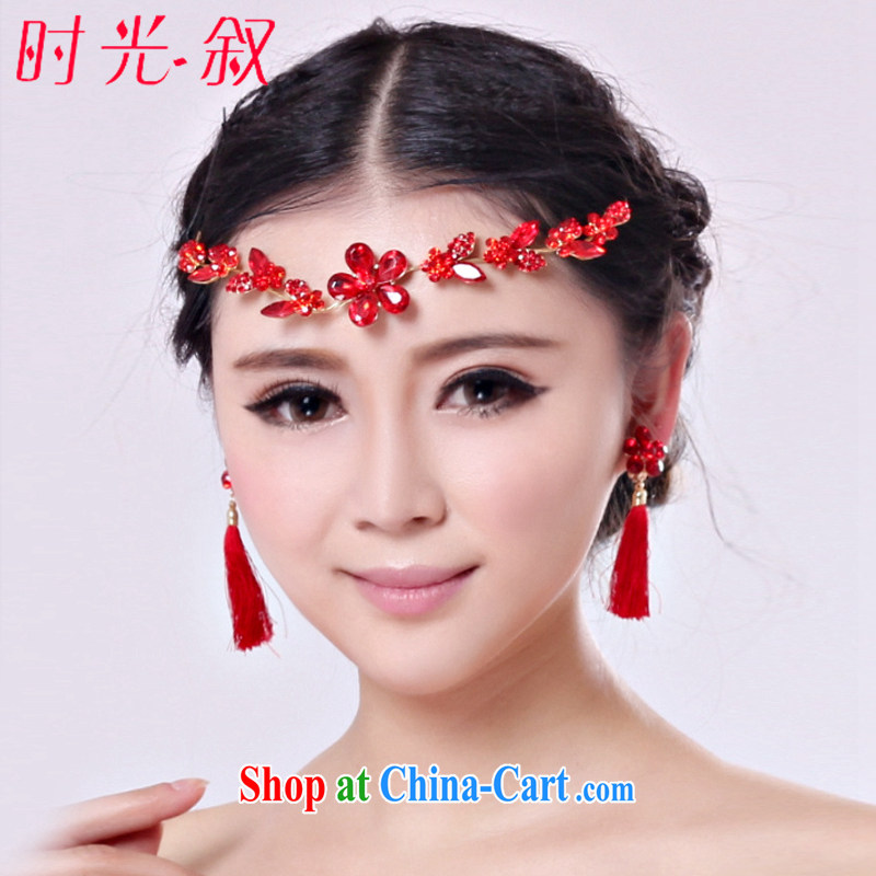 Time Syrian national wind red wood drill Ear clip ear fall dresses accessories bridal long marriage wedding flow, ear ornaments and ornaments earrings