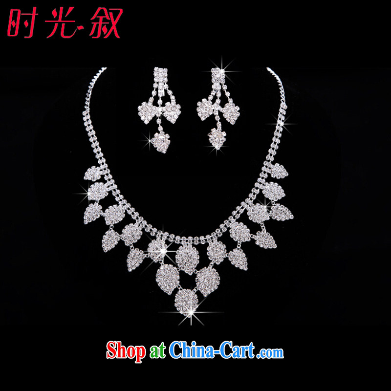 Time Syrian leaf-shaped Korean bridal headdress-trim Crown necklace earrings 3-piece kit jewelry hair accessories wedding wedding accessories jewelry necklaces earrings