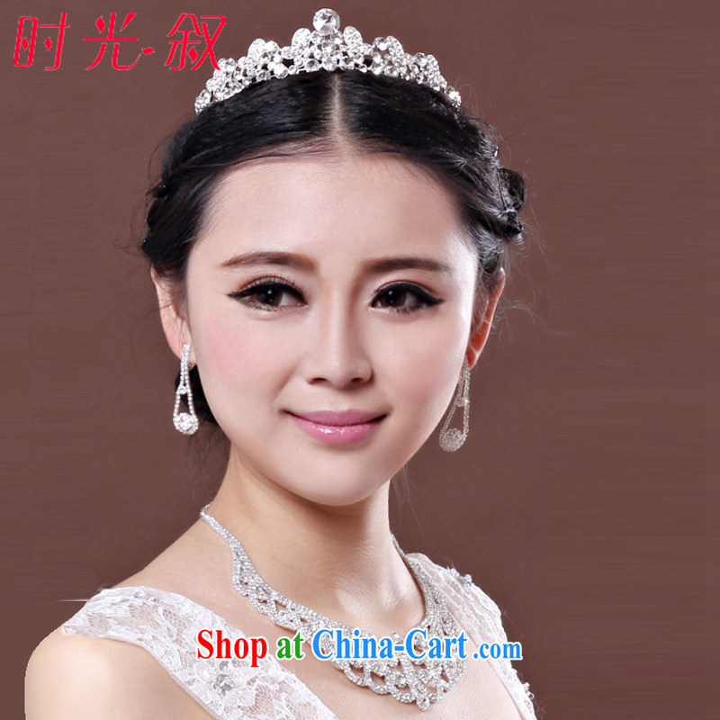 Time his 2015 bridal wedding accessories and ornaments of jewelry Crown necklace earrings 3-piece kit jewelry hair accessories wedding jewelry gift set 3 piece set