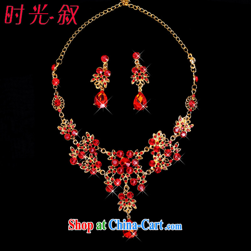 Time his bride's red head-dress-trim Crown necklace earrings 3-piece kit jewelry hair accessories wedding wedding accessories jewelry necklaces earrings