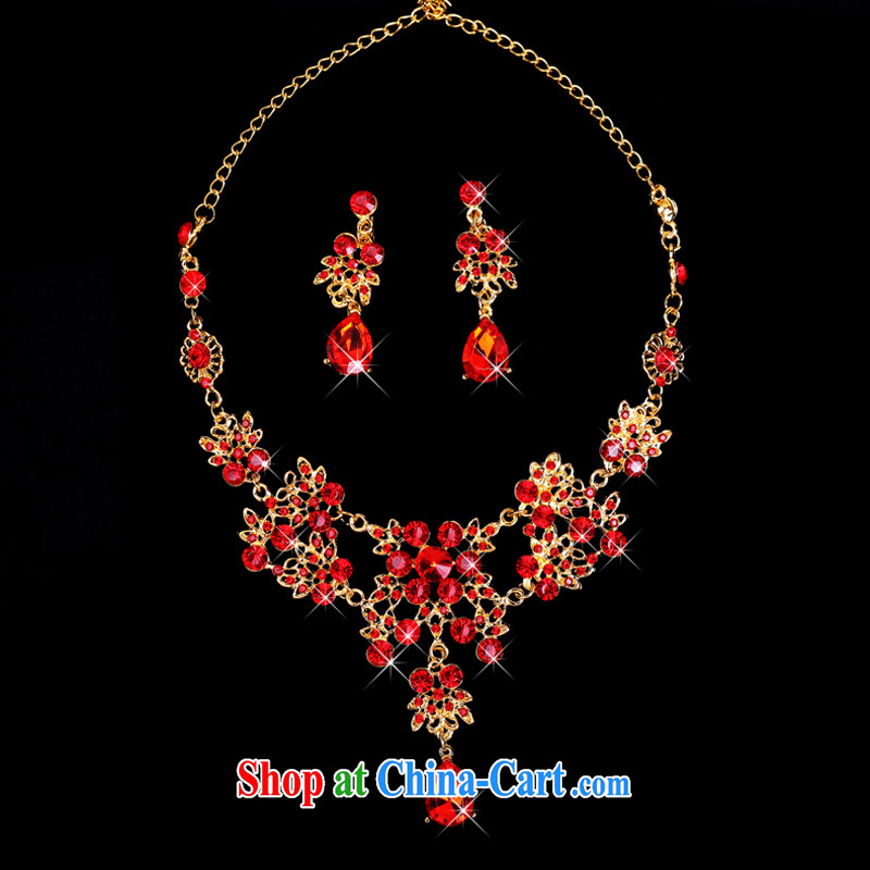 Time his bride's red head-dress-trim Crown necklace earrings 3-piece kit jewelry hair accessories wedding wedding accessories jewelry necklace earrings, the time, and on-line shopping