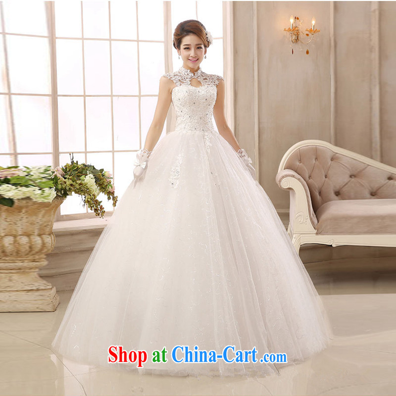 Marriage wedding dresses 2015 new, modern white lace-up collar package shoulder back with retro graphics thin white XS