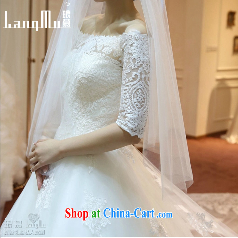 In Luang Prabang in 2015 OF NEW FIELD shoulder collar long-sleeved with wedding dresses long-tail lace beauty graphics thin large-tail with M paragraph, Luang Prabang, and shopping on the Internet