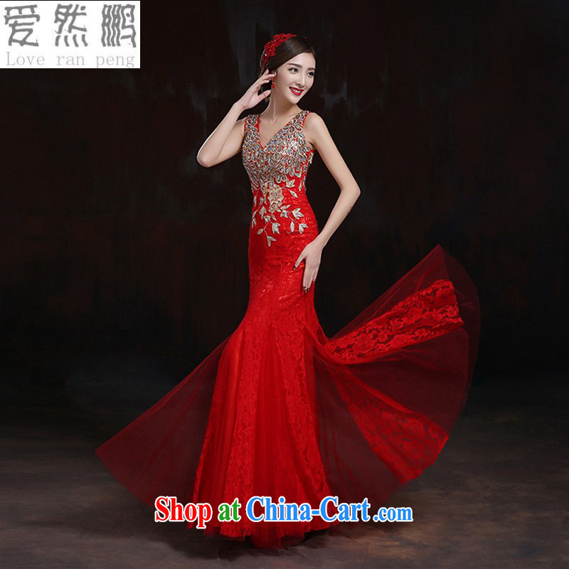 Love so Peng 2015 winter clothing bows bridal gown new wedding crowsfoot long dresses, wedding toast serving red customers to size the Do not be returned.