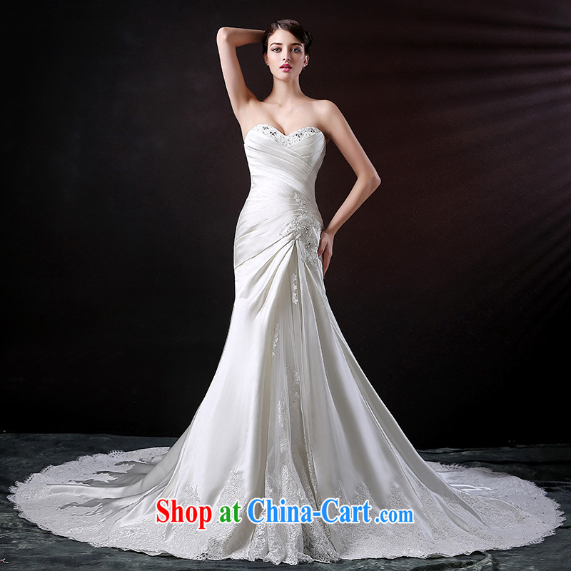 DressilyMe custom wedding - 2015 new erase chest crowsfoot bridal wedding dress Satin lace inserts drill long-tail wedding dress ivory tailored - Provide 25 day shipping