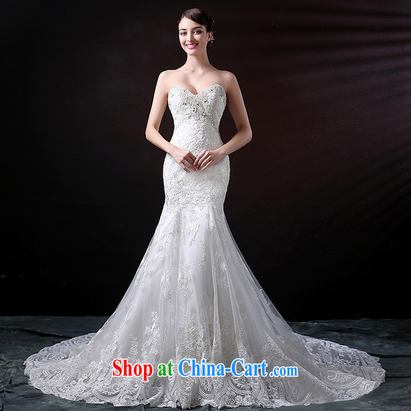 DressilyMe custom wedding - 2015 new erase chest luxury crowsfoot wedding dress lace-wood drill sexy flash bridal gown dress white - out of stock 25 day shipping tailored