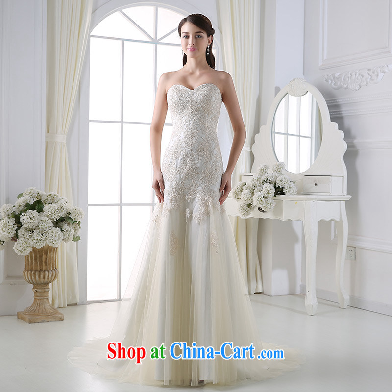 DressilyMe custom wedding dresses - 2015 spring new erase chest lace crowsfoot wedding light champagne wood drill 100 hem skirt bridal gown white - in stock 25-day shipment XL