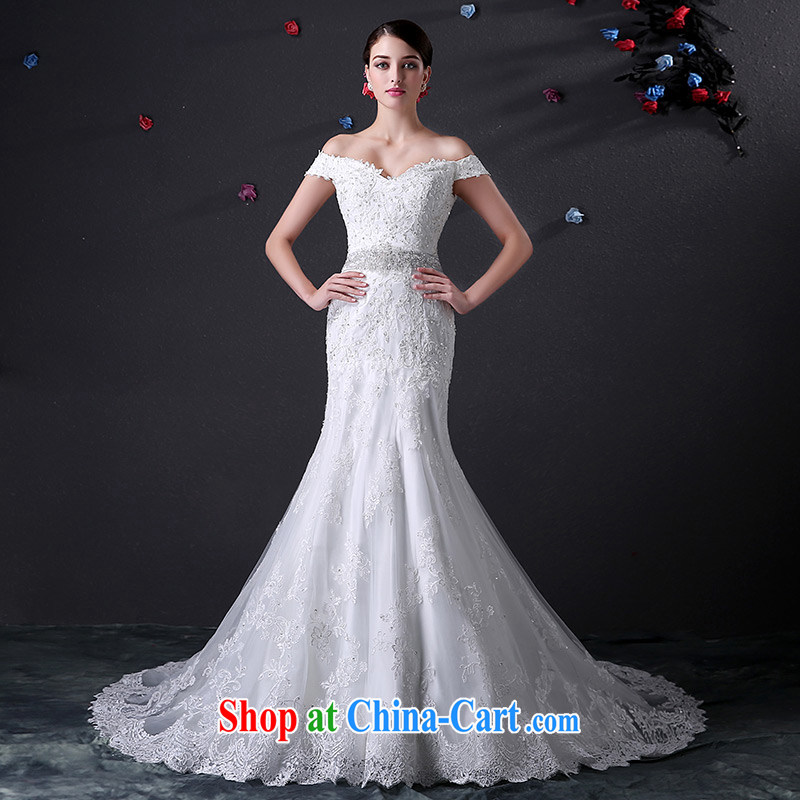 DressilyMe custom wedding - 2015 New Card shoulder cuff lace crowsfoot wedding beauty package shoulder zipper with seamless drill belt bridal gown White - out of stock 25 day shipping XL