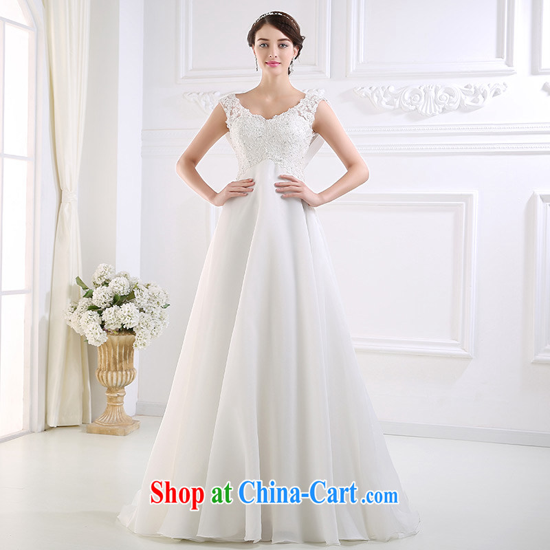 DressilyMe custom wedding dresses - 2015 new high-waist lace A field version V collar beach outdoor wedding lace cuff bridal gown White - out of stock 25 Day Shipping XL
