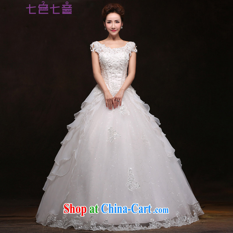 7 color 7 tone Korean version 2015 new brides field shoulder beauty antique Korean lace with package shoulder wedding dresses H 061 white XL