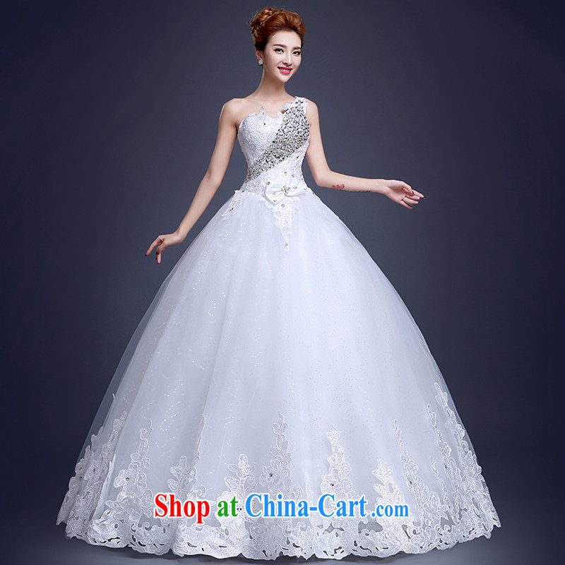 The Vanessa single shoulder wedding dresses Korean Modern marriages the code with wedding wood drill with female white tailored supplement No. Post will not be returned.