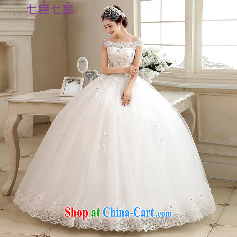 7 color 7 tone Korean wedding dresses 2015 new long-tail lace field shoulder the code graphics thin custom H 062 white with M paragraph