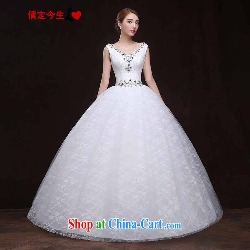 The Code love life wedding dresses 2015 new Korean version of V sense for wood drilling lace back exposed pregnant women custom wedding dress white XXL
