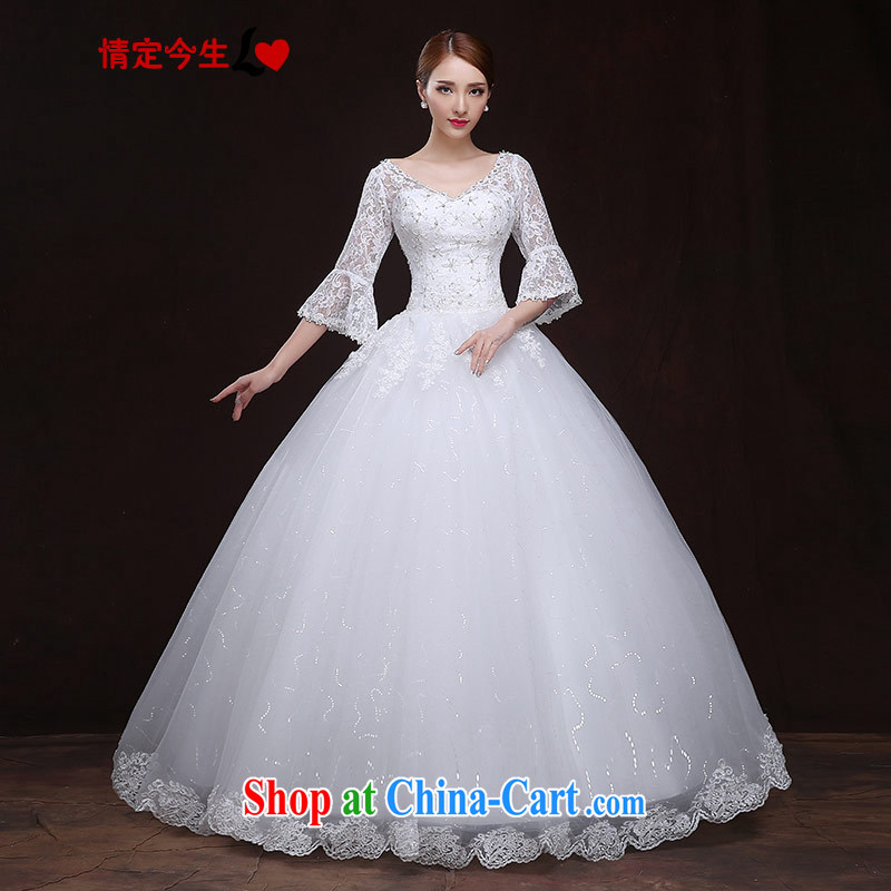 The Code love life wedding dresses 2015 new European-style wedding lace 7 horn cuff cuff shaggy dress wedding elegant strap graphics thin white XXXL