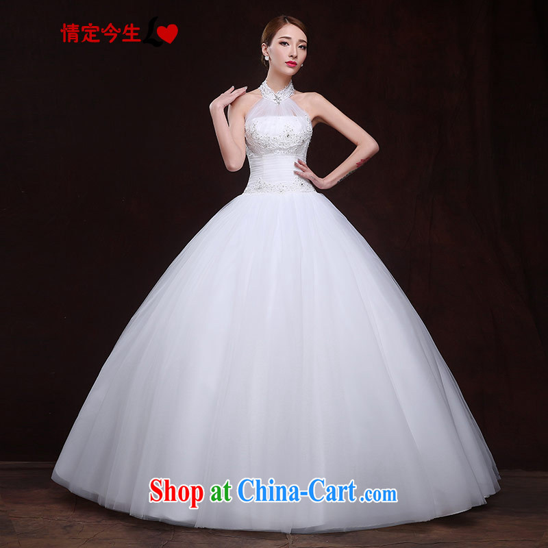 The Code love life wedding dresses 2015 New Field shoulder lace nails Pearl sexy back exposed Korean-style-waist-elegant white XXL