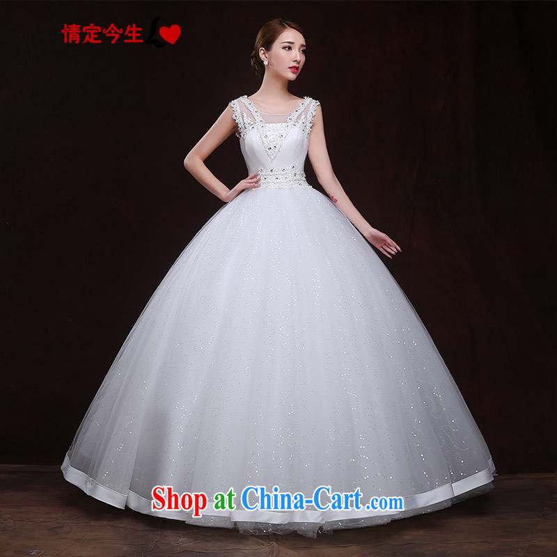 The Code love life wedding a shoulder 2015 new sexy exposed back panels by drilling with Princess shaggy dress wedding dress girls white XXL
