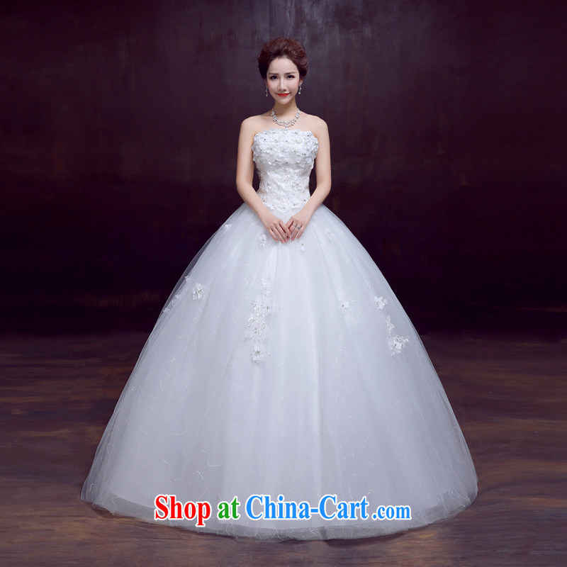 The married Yi wedding dresses new spring 2015 wiped his chest, bridal wedding beauty graphics thin sweet tied with flowers wedding, 3-Piece white XXL