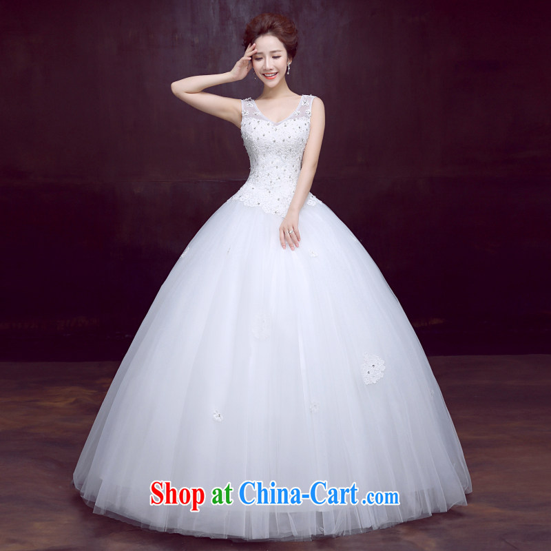 The married Yi wedding dresses new 2015 spring shoulders with bridal wedding beauty graphics thin dark V collar sweet strap wedding, 3-Piece white XXL