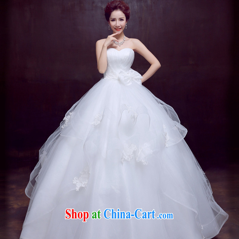 The married Yi wedding dresses new spring 2015 wiped his chest to marriages wedding beauty graphics thin sweet Butterfly Festival wedding, 3 piece white M