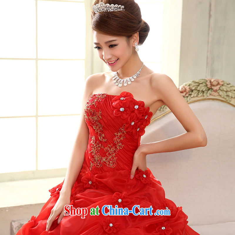 A good service is 2015 New Red bridal wedding dresses stylish wiped his chest creases manually with wedding red 2 XL