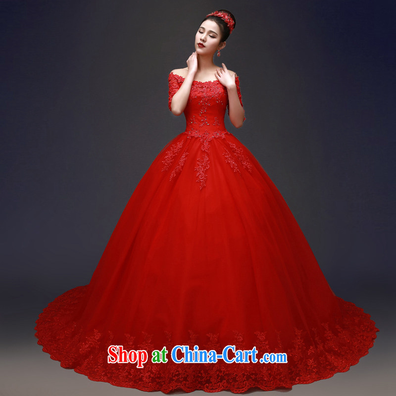 Cuff IN THE FIELD shoulder with red wedding dresses new 2015 spring bridal wedding beauty-tail hunsha female lace lace with