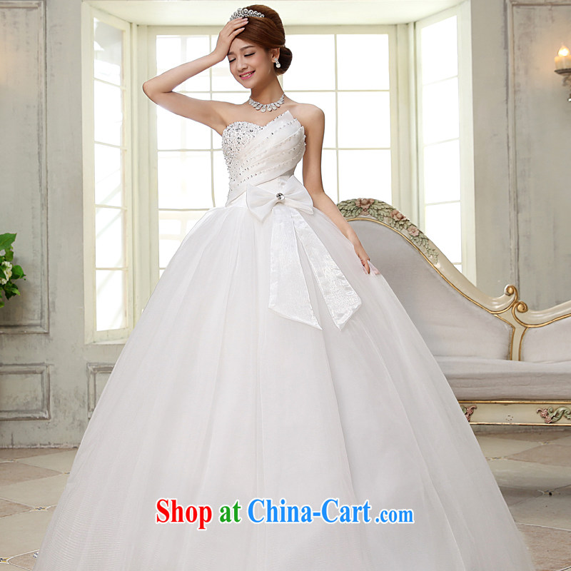 A good service is 2015 new bride's heart-shaped bare chest stylish water drilling, marriage with wedding dresses white 2XL