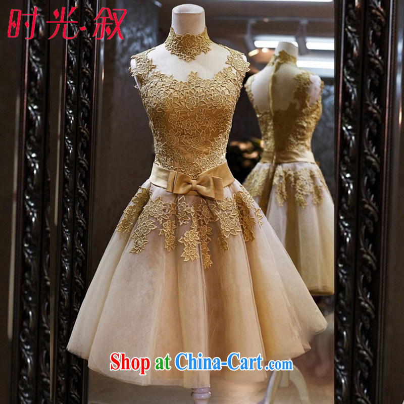 Time his Korean-style evening dress bridal toast clothing Bridal Fashion a Field shoulder gold short dress dress gold XXL