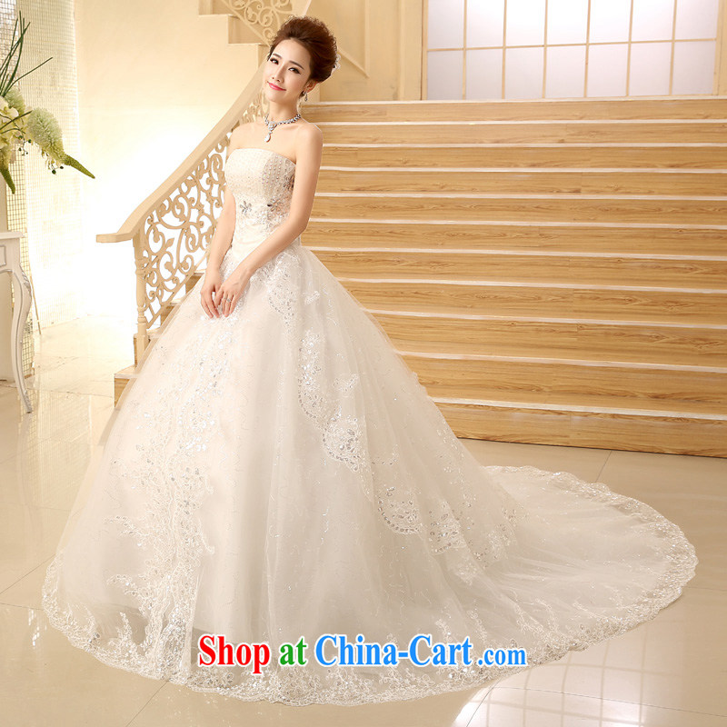 Time wiped his chest style wedding dresses new tail wedding tied with lace inserts drill wipe the chest tail wedding, Japan, and South Korea custom wedding white M, time, and shopping on the Internet