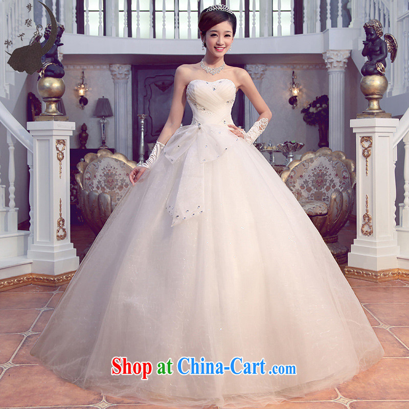 Dream of the day wedding dresses 2015 new spring Korean Princess The bowtie erase chest wedding dress 6231 white XXXL