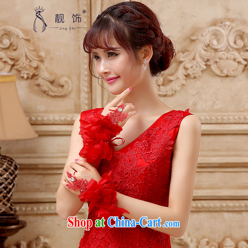 Beautiful ornaments 2015 new bride short red gloves wedding dresses accessories accessories red gloves 105