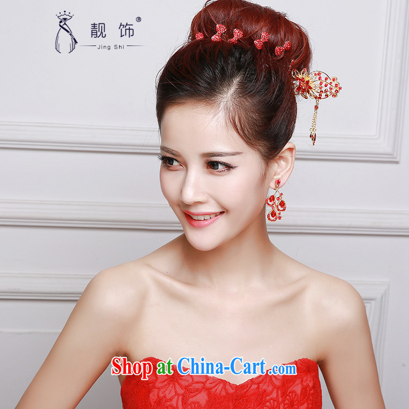 Beautiful ornaments 2015 new bridal red head-dress bow-tie Crown earrings dress dresses accessories accessories Red classic furnishings 048