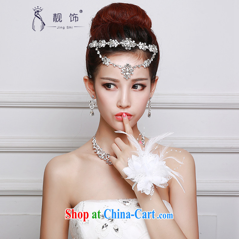 Beautiful ornaments 2015 new bride and bride's Headdress chain Crown necklace earrings 3 piece wedding accessories bridal Crown Kit 068