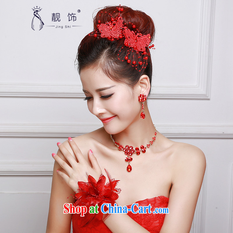 Beautiful ornaments 2015 new bridal red head-dress red butterfly knot trim Crown necklace earrings 3-piece red bow-tie kit 035